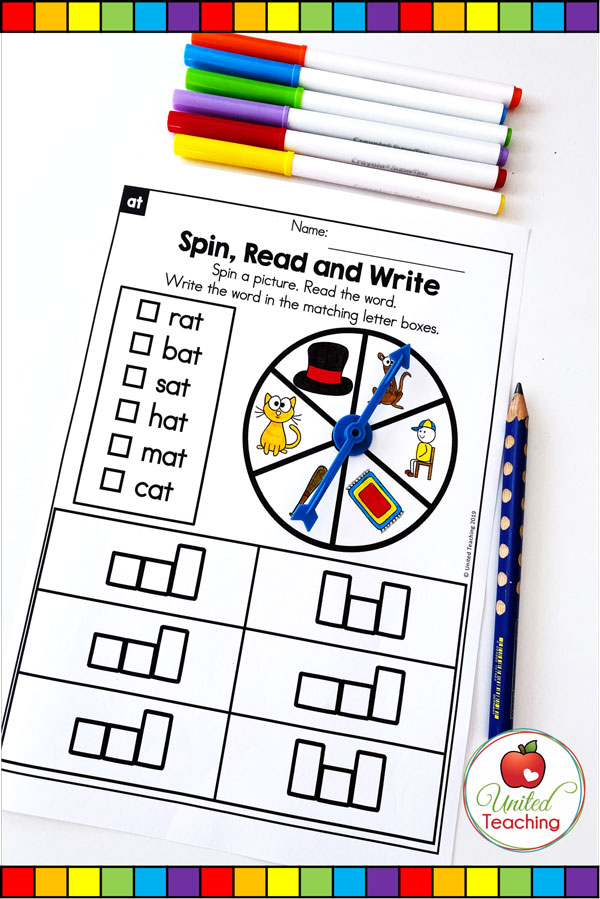 Spin to Win CVC Spin, Read & Write game for beginning readers.