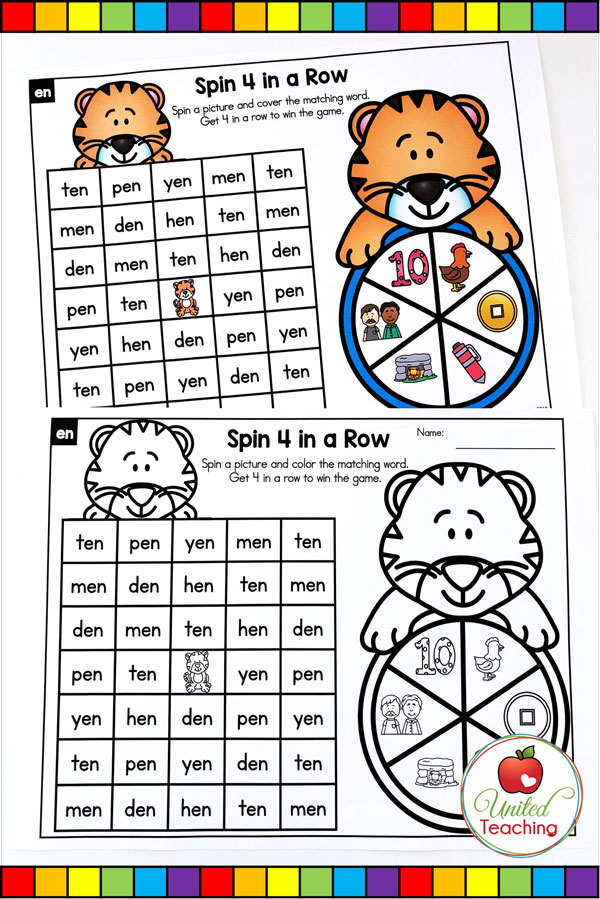 Spin to Win CVC 4 in a Row games for beginning readers.