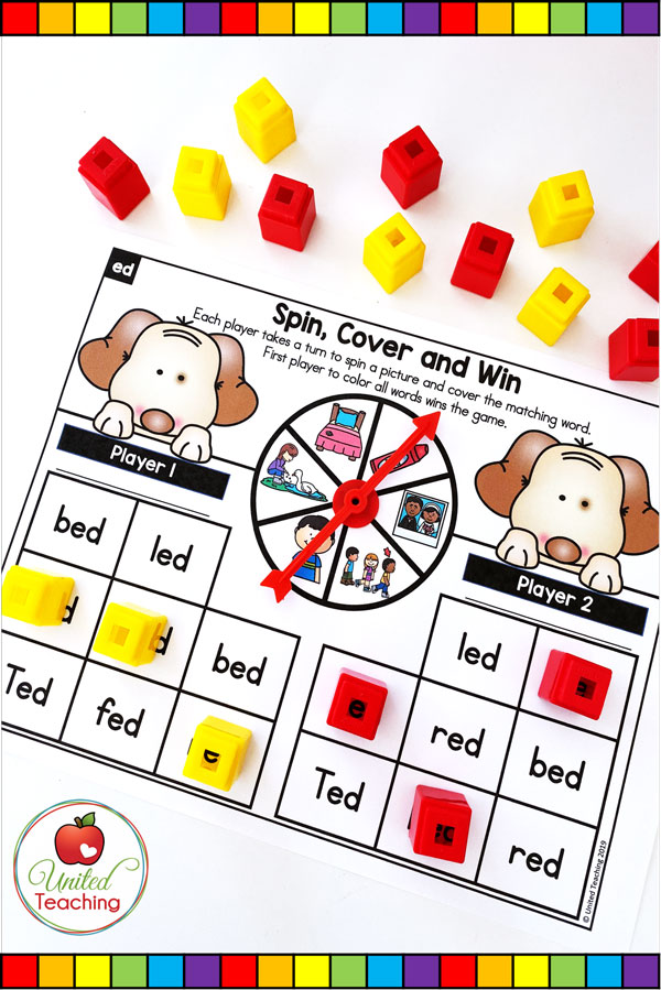 Spin to Win CVC Spin, Cover & Win partner game for beginning readers.