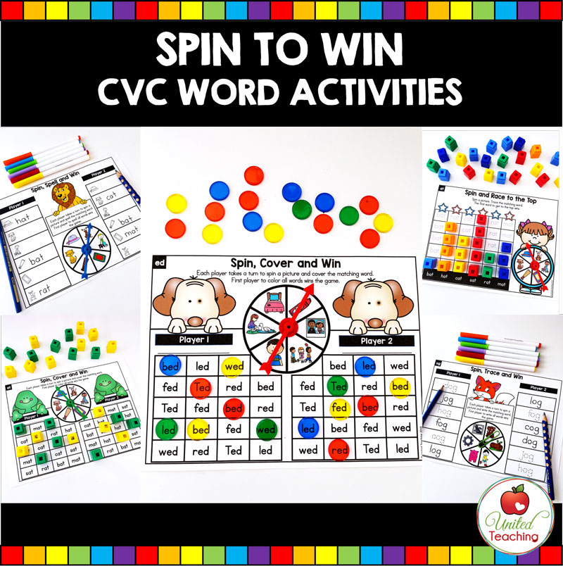 Spin to Win CVC Word Activities