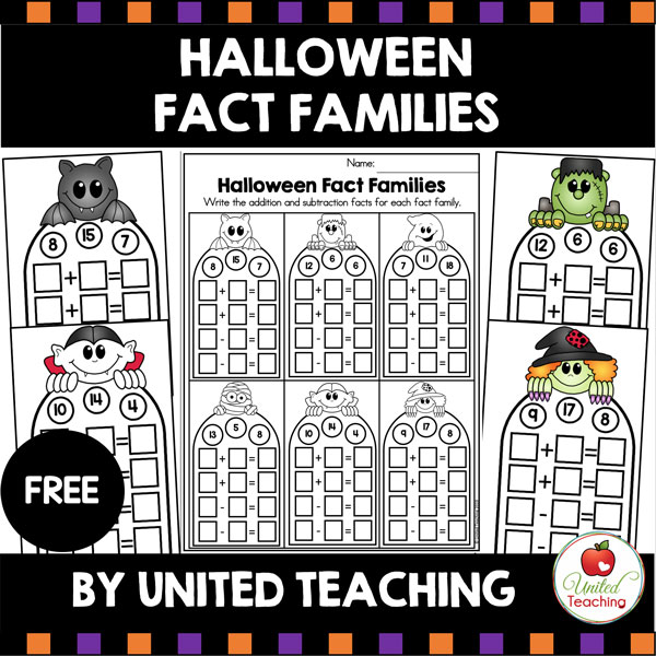 Halloween Fact Families Free Math Center.