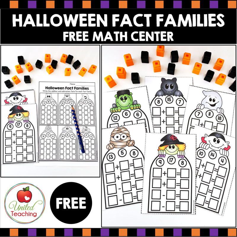 Free Fact Families Math Center for Halloween.