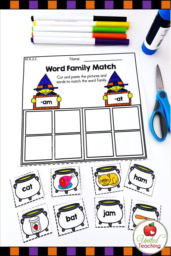 Halloween Word Family Sort  worksheet