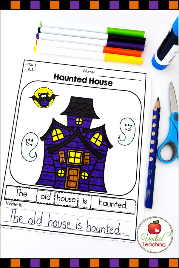 Sentence building and writing Halloween worksheet