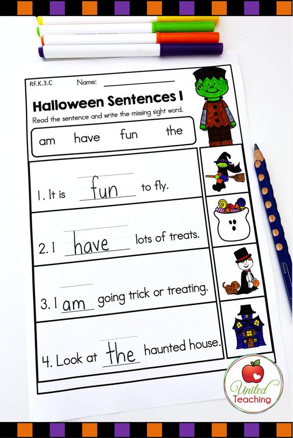 Halloween Sight word sentences worksheet for kindergarten students