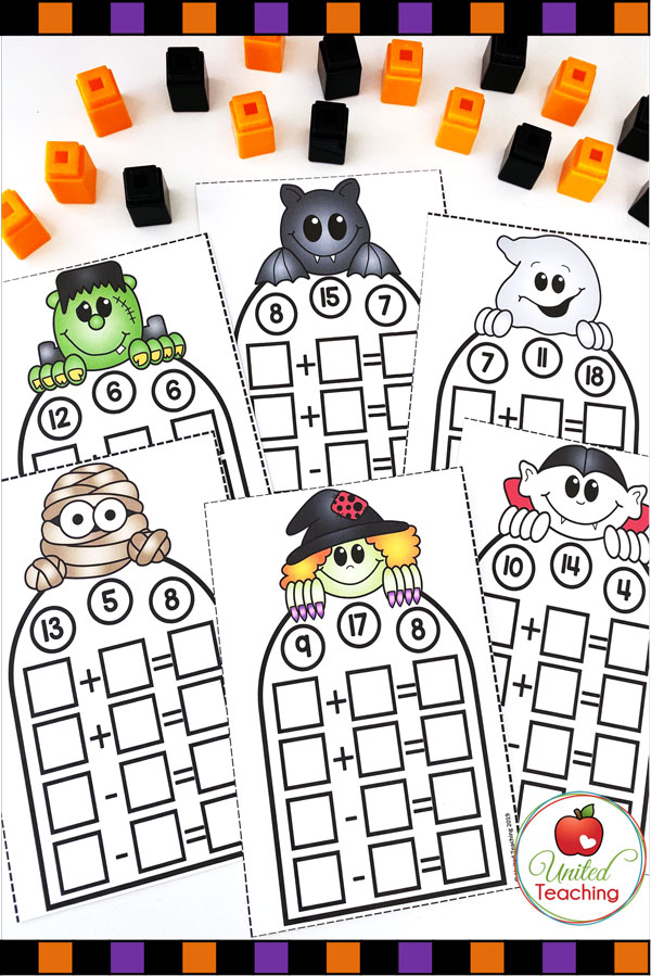 Free Fact Families Math Center for Halloween task cards.