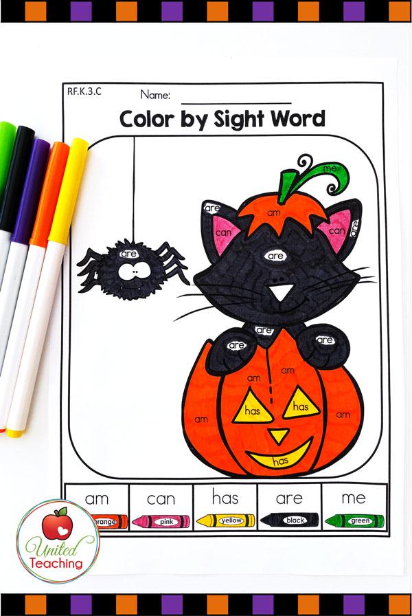Color by Sight Words Kindergarten Halloween worksheet