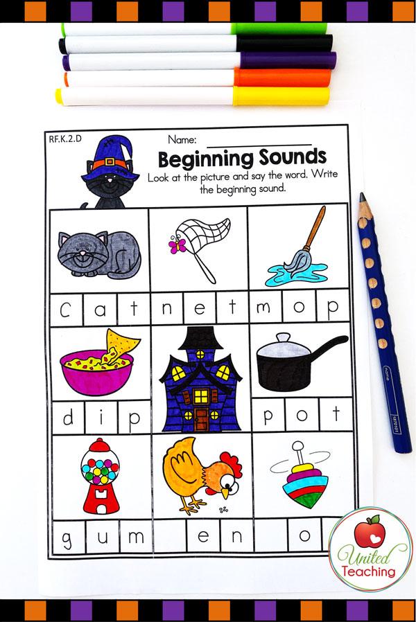 Beginning Sounds CVC Word Worksheet