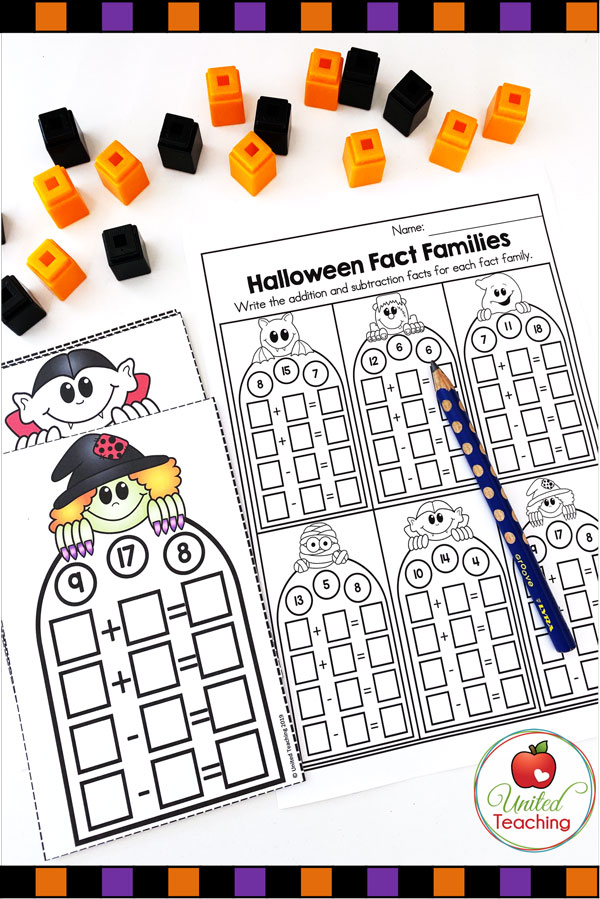 Free Fact Families Math Center for Halloween task cards and worksheet.