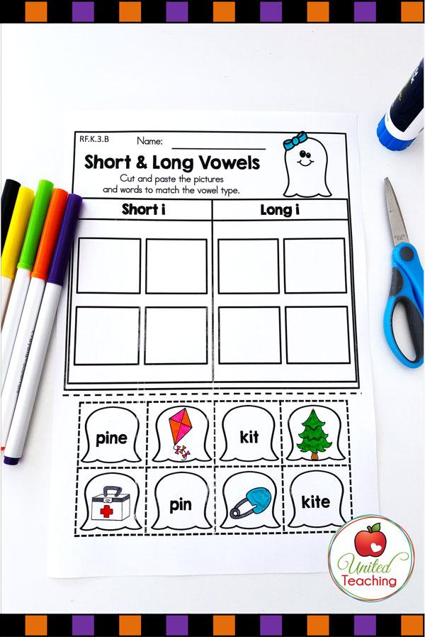 Long and short vowel word sort worksheet