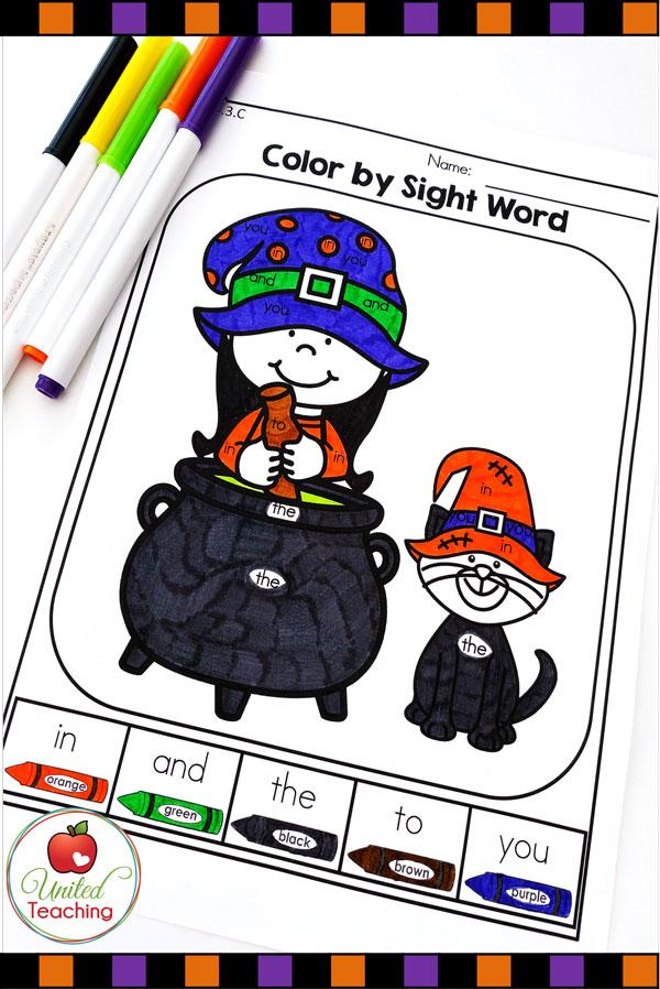 Color by sight words Halloween kindergarten worksheet