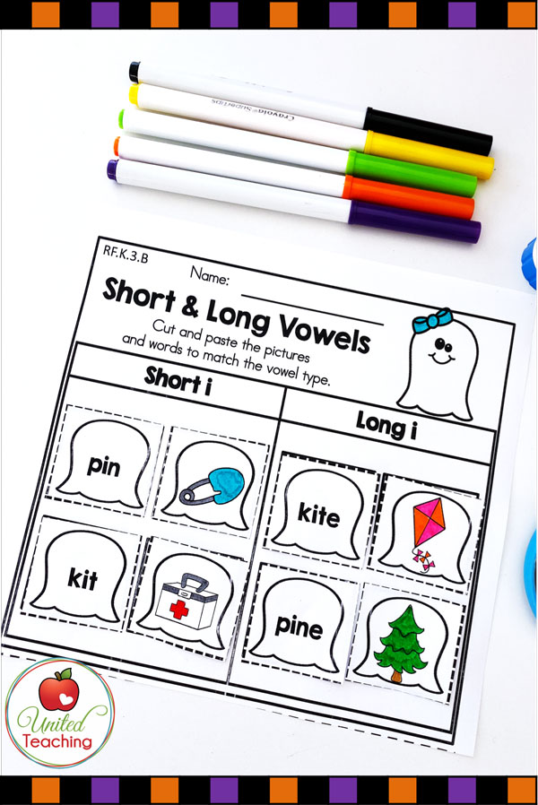 Long and short vowel word sort activity