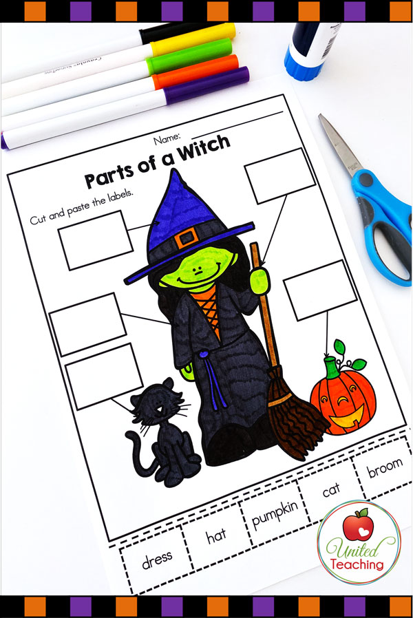 Halloween Label the Witch worksheet