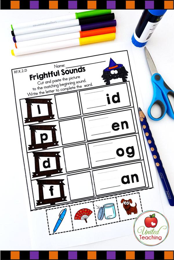 CVC words phonics worksheet