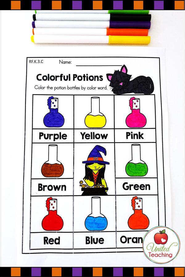 Color Words Halloween printable