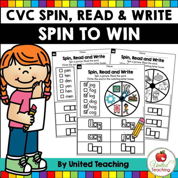 Spin to Win CVC Spin, Read & Write games for beginning readers.