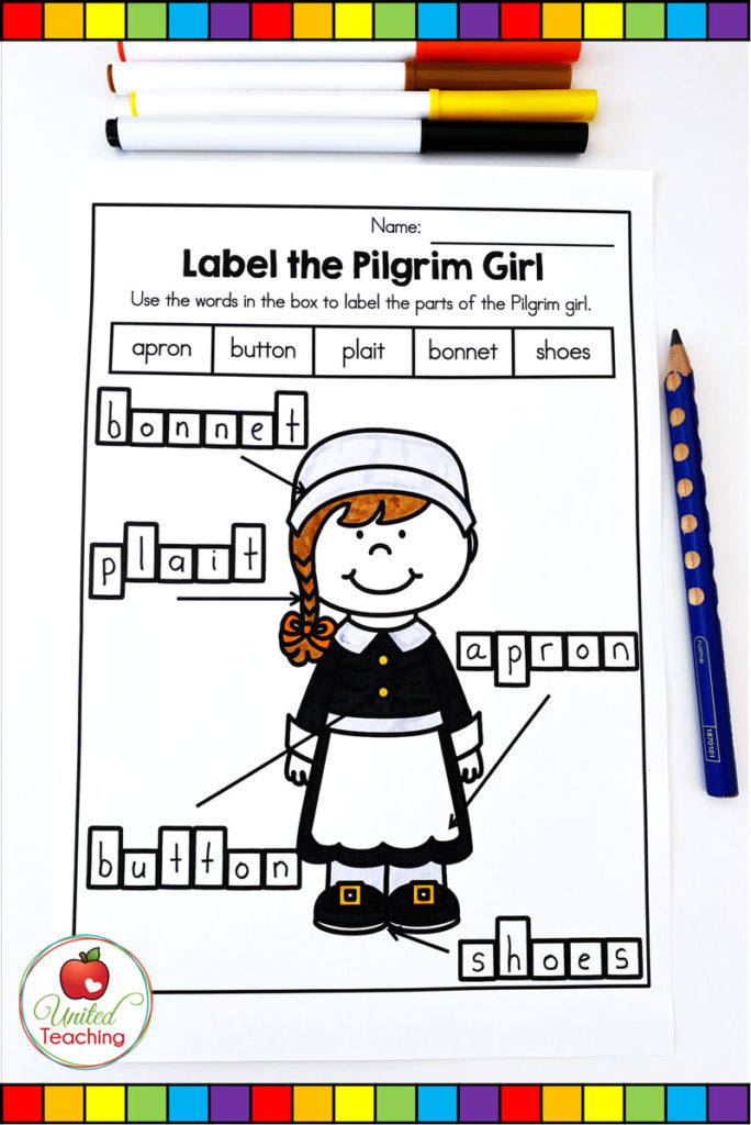 FREE Thanksgiving Labeling Activities  - Label the Parts of a Pilgrim girl worksheet.