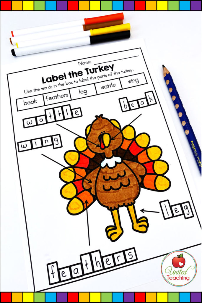 FREE Thanksgiving Labeling Activities  - Label the Parts of a Turkey worksheet.