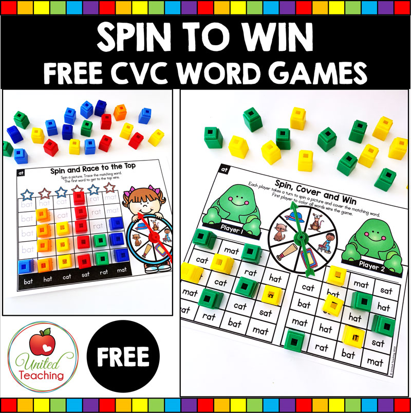 Spin to Win CVC Games Sample activities for beginning readers.