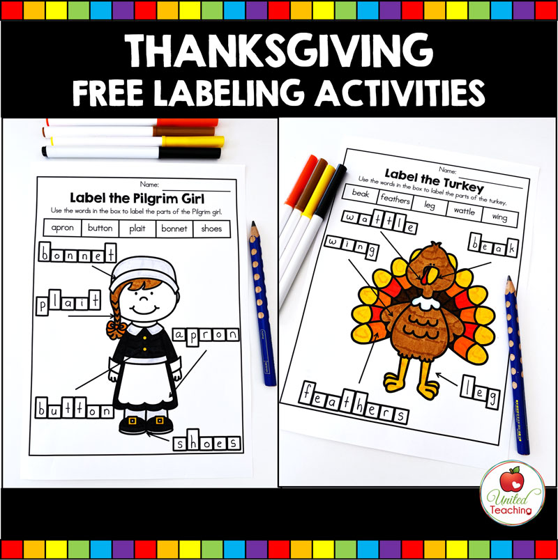 FREE Thanksgiving Labeling Activities  - Label the Parts of a Turkey and Pilgrim Girl