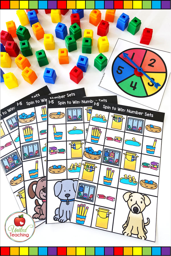 Spin to Win Number Sets math game for developing number sense and cardinality concepts.