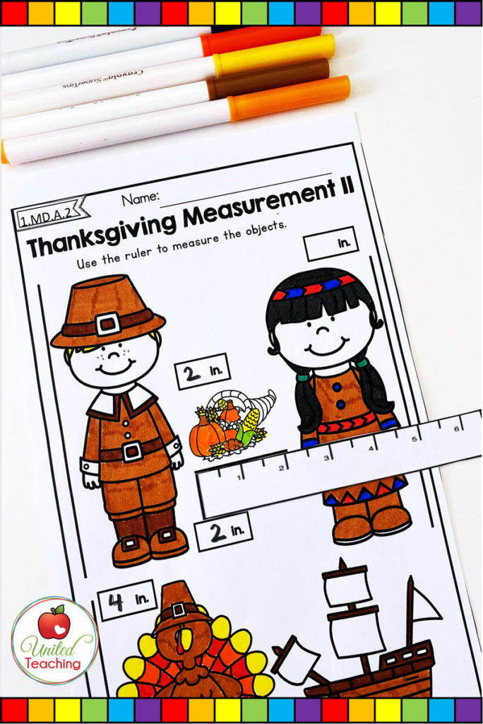Thanksgiving measurement with inches math worksheet