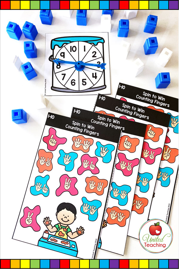 Spin to Win Counting Fingers for numbers 1-10 colored game mats