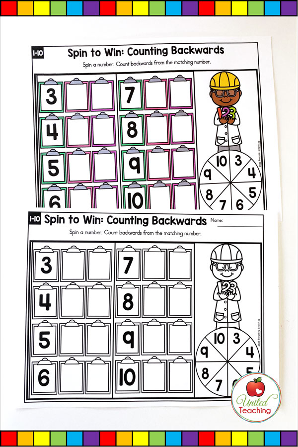 Spin to Win Counting Backwards for numbers 1-10 colored math game