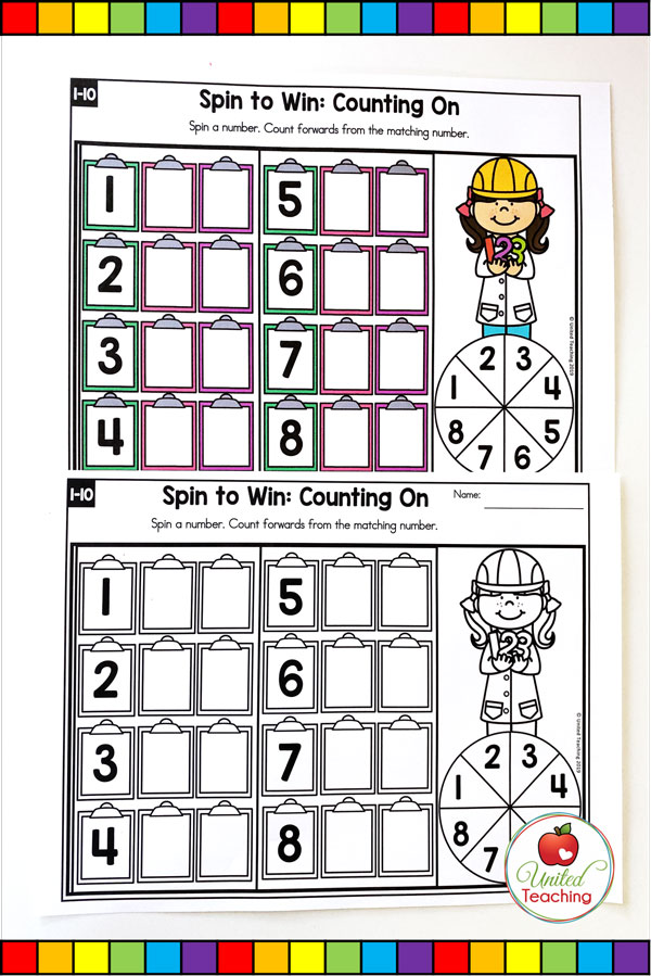 Spin to Win Counting On for numbers 1-10 colored math game