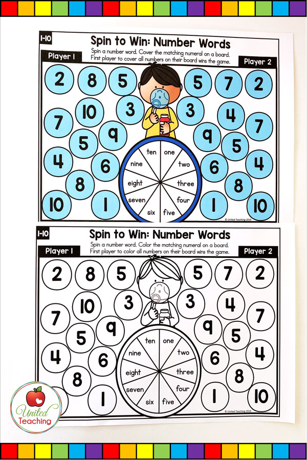 Spin to Win Number Words for numbers 1-10 colored and worksheet math game