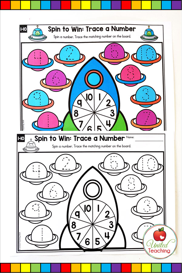Spin to Win Trace a Number for numbers 1-10 game and worksheet