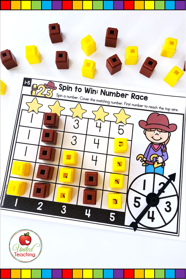 Spin to Win Number Race math game for developing number 1-5 recognition.