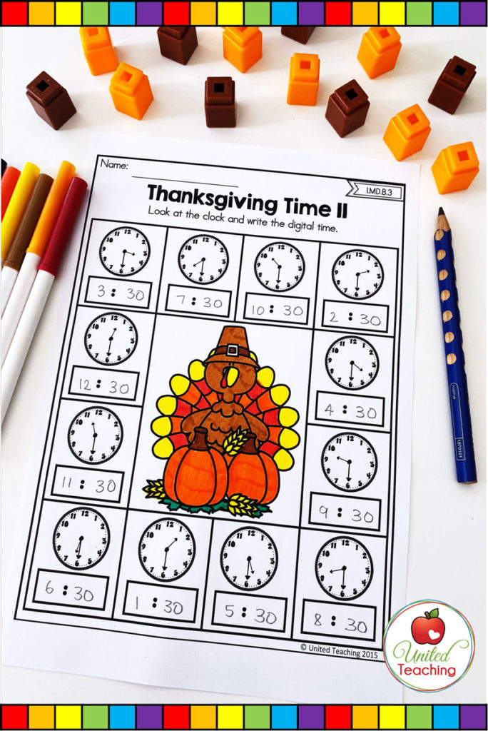 Thanksgiving Telling Time to the half-hour math worksheet