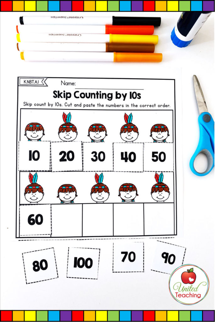 Skip counting by 10s cut and paste math worksheet