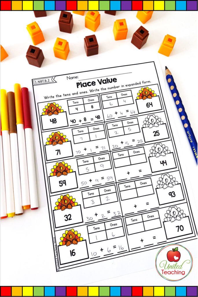 Thanksgiving tens and ones place value math worksheet