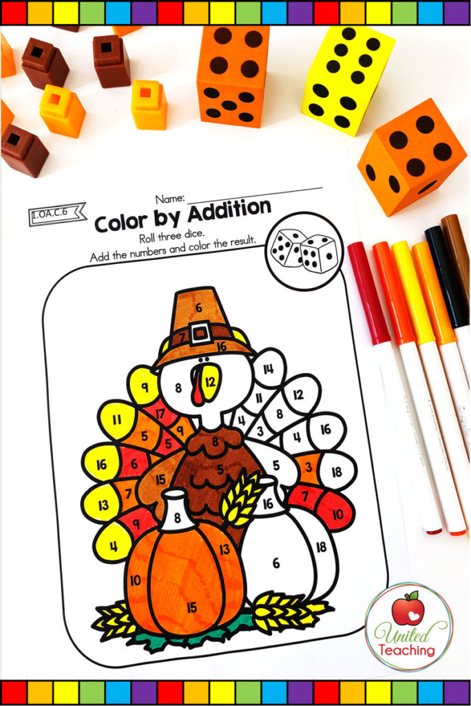 Thanksgiving Color by Addition Turkey math worksheet