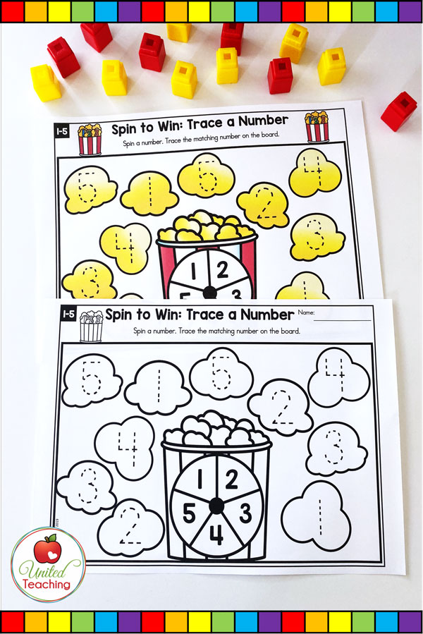 Spin to Win Trace a Number is a fun math game for students to practice writing numerals 1-5.
