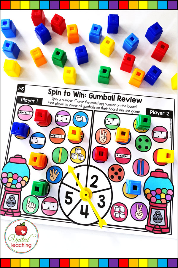 Spin to Win Numbers 1-5 Review math game for developing number sense, subitizing skills, and number 1-5 recognition.