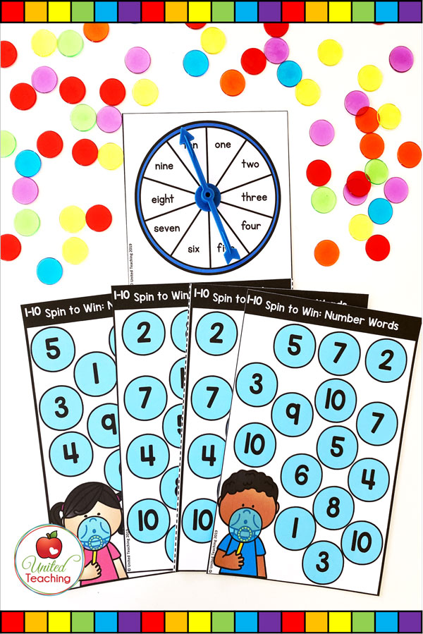 Spin to Win Number Words for numbers 1-10 colored math game