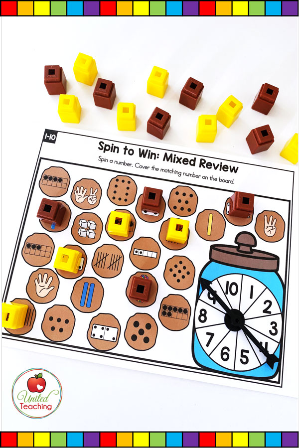 Spin to Win Subitizing Mixed Review for numbers 1-10 colored math game