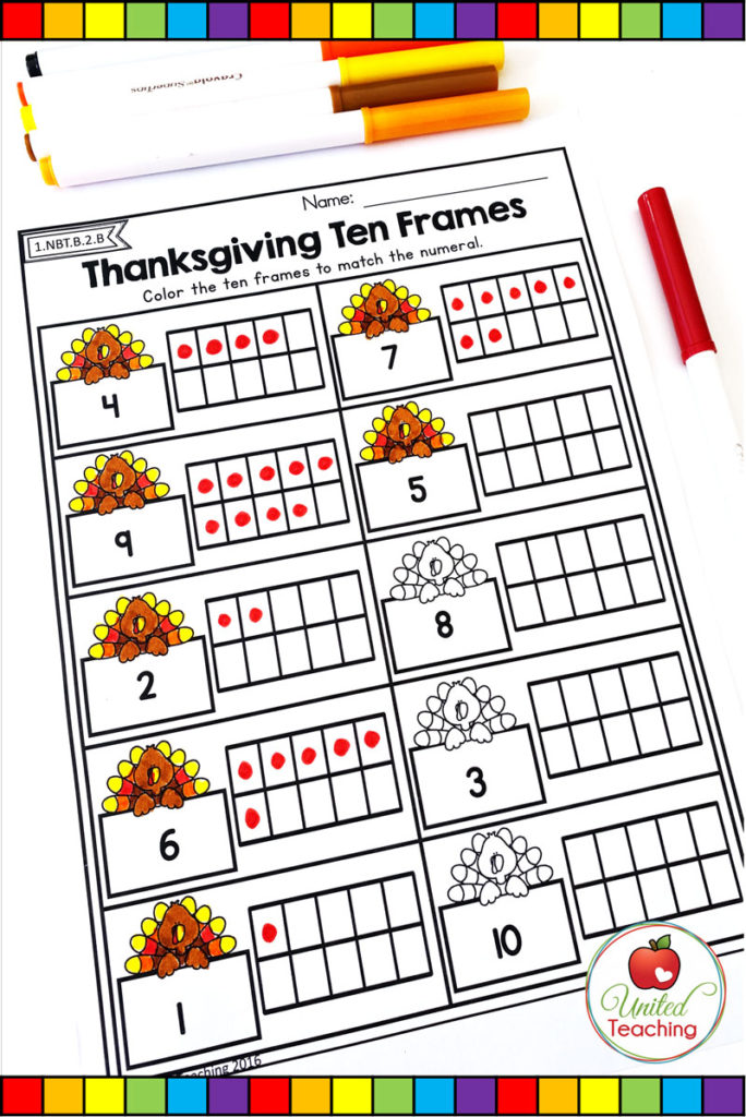 Thanksgiving Ten Frames math worksheet