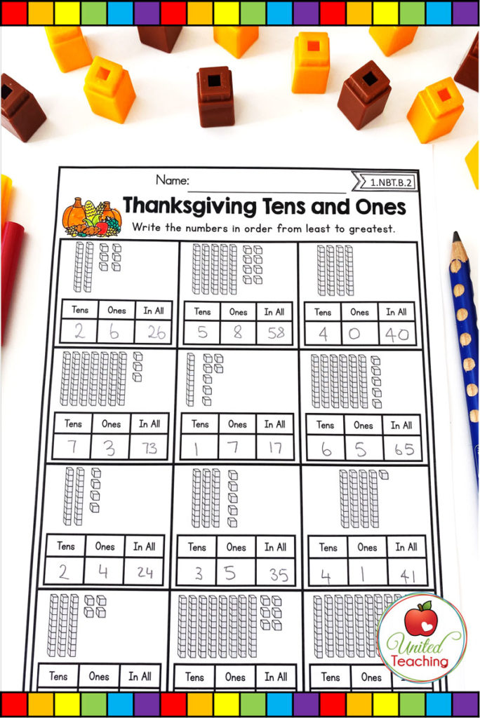 Thanksgiving tens and ones base ten math worksheet