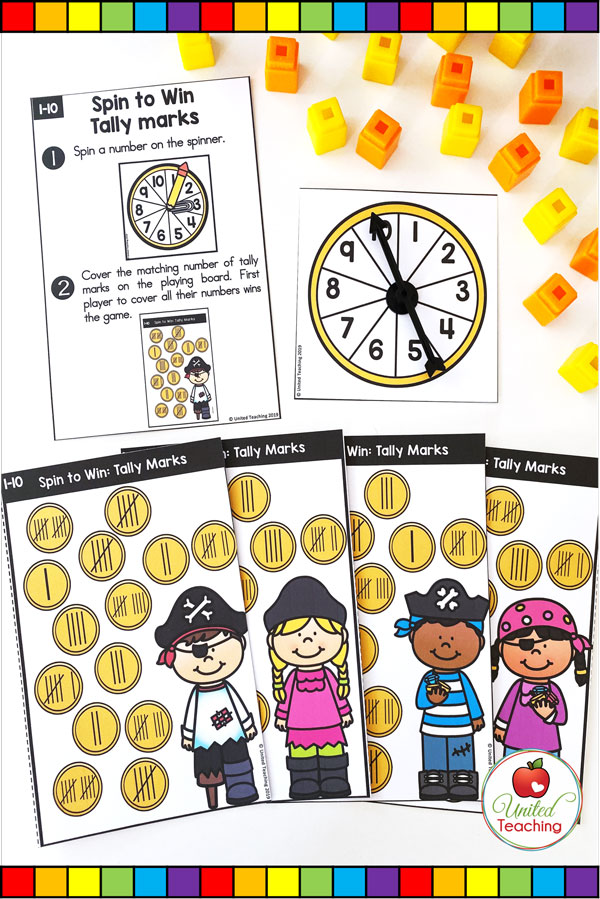 Spin to Win Tally Marks for numbers 1-10 colored math game