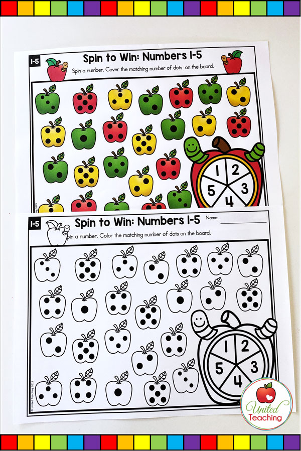 Spin to Win Numbers 1-5 math game for developing number sense and subitizing concepts.