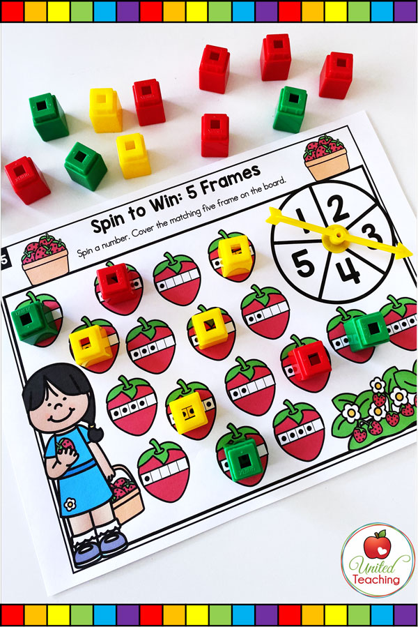 Spin to Win 5 Frames is a fun math game to help students gain a sense of the base 10 system, start to decompose numbers, and build a foundation for place value.