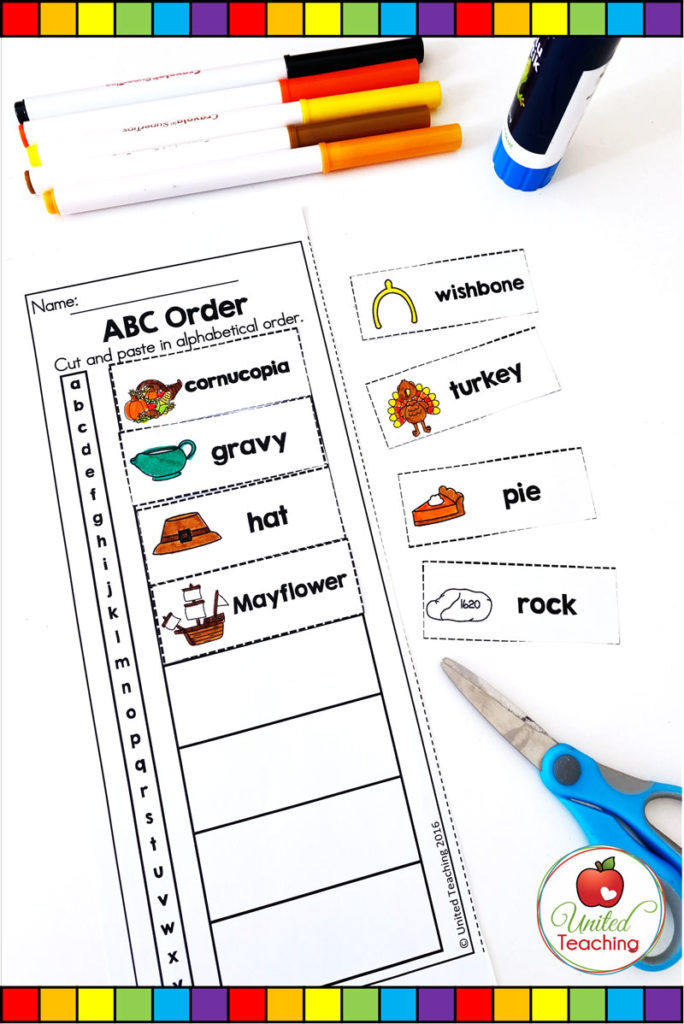Thanksgiving ABC order literacy worksheet