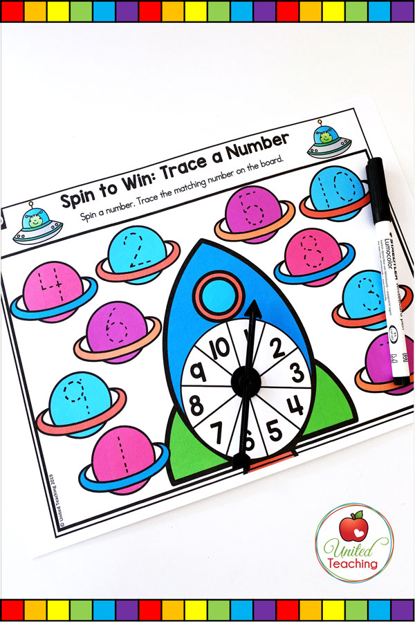 Spin to Win Trace a number for numbers 1-10 colored game mat