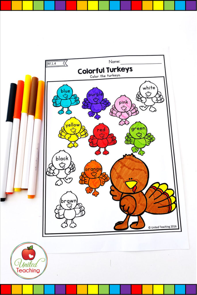 Thanksgiving Colorful Turkeys color words worksheet