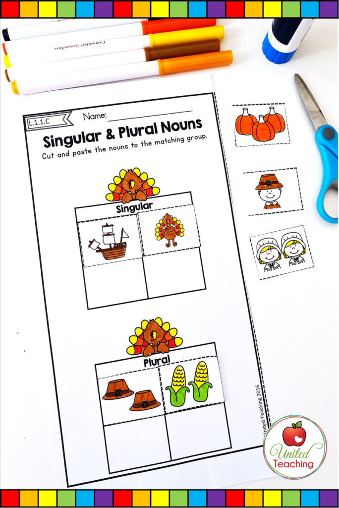 Thanksgiving singular and plural nouns grammar worksheet
