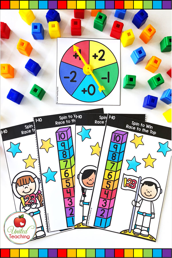 Spin to Win Race to the Top for numbers 1-10 Game for math centers.